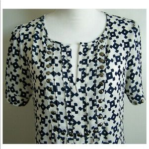 Navy White Geo Print Studded blouse